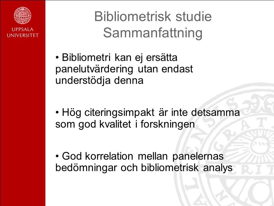 Bibliometrisk studie Sammanfattning