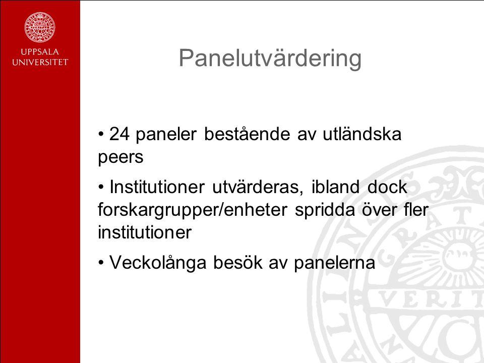 Panelutvärdering 24 paneler bestående av utländska peers