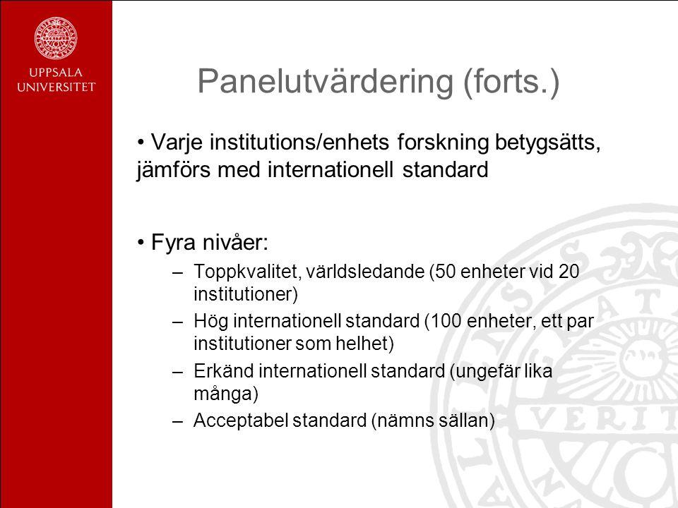 Panelutvärdering (forts.)