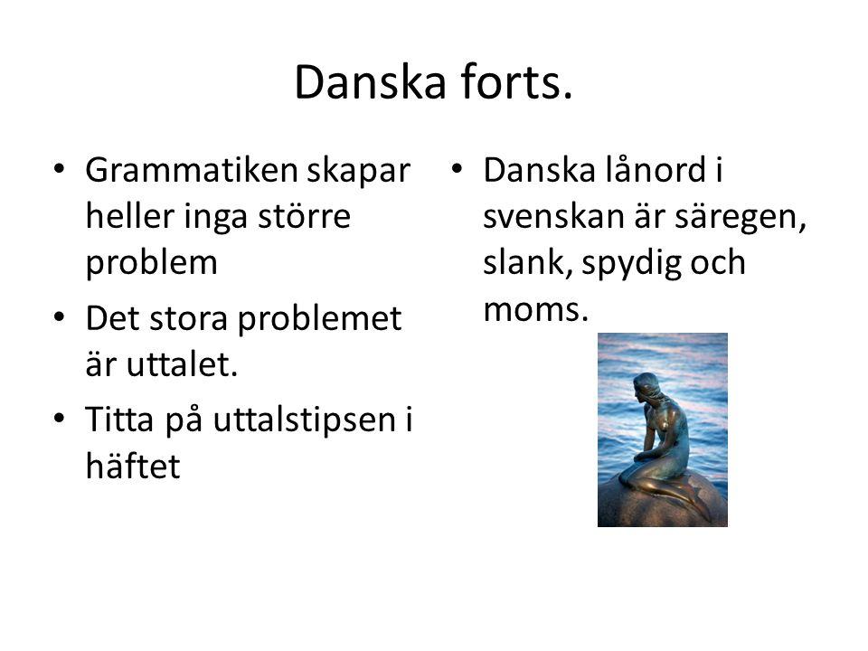 Danska forts. Grammatiken skapar heller inga större problem