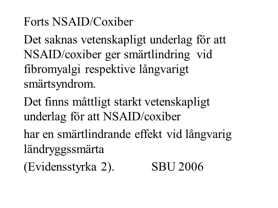 Forts NSAID/Coxiber Det saknas vetenskapligt underlag för att NSAID/coxiber ger smärtlindring vid fibromyalgi respektive långvarigt smärtsyndrom.