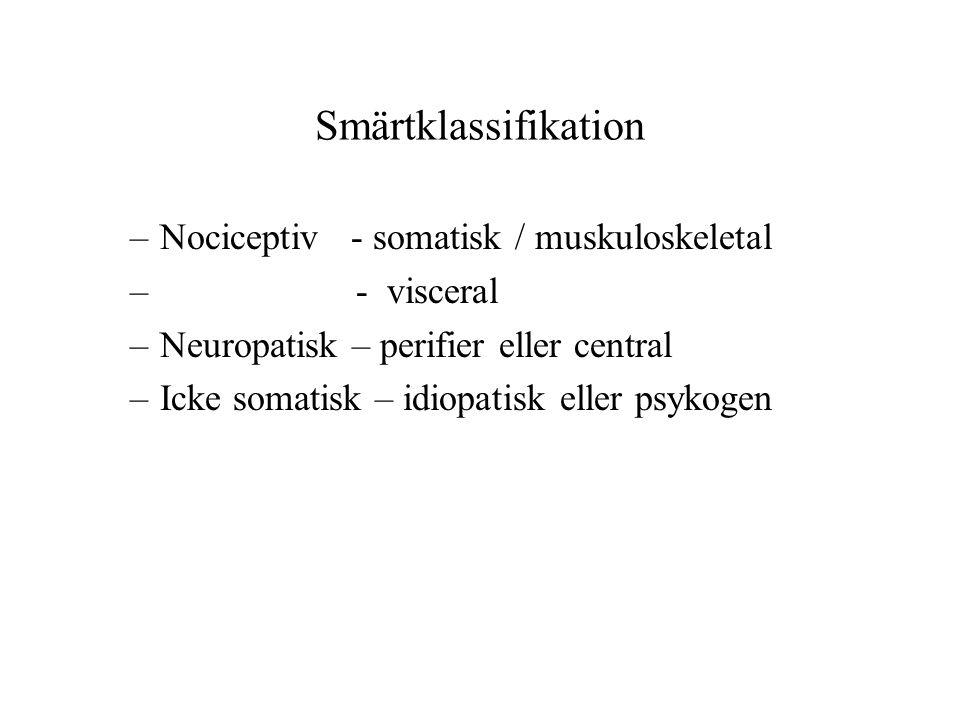Smärtklassifikation Nociceptiv - somatisk / muskuloskeletal - visceral