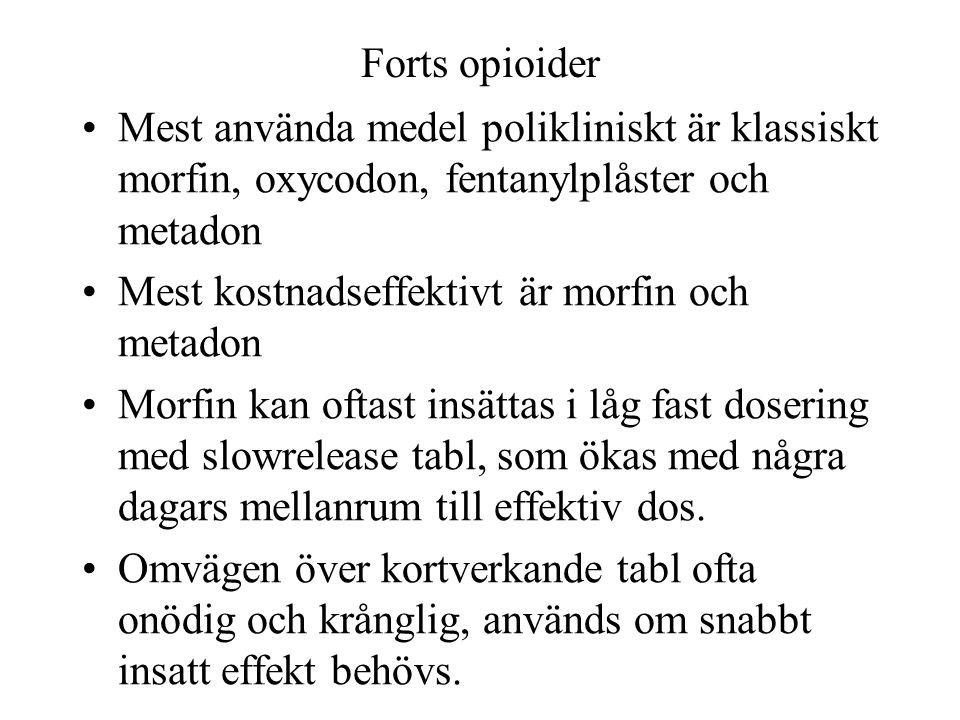 Forts opioider Mest använda medel polikliniskt är klassiskt morfin, oxycodon, fentanylplåster och metadon.