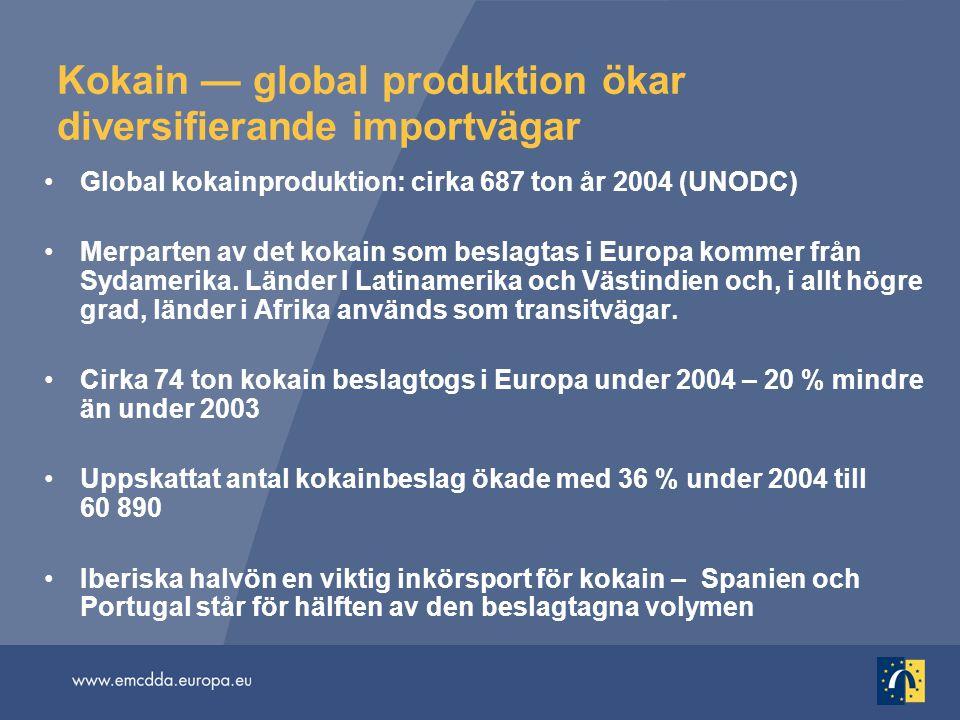 Kokain — global produktion ökar diversifierande importvägar