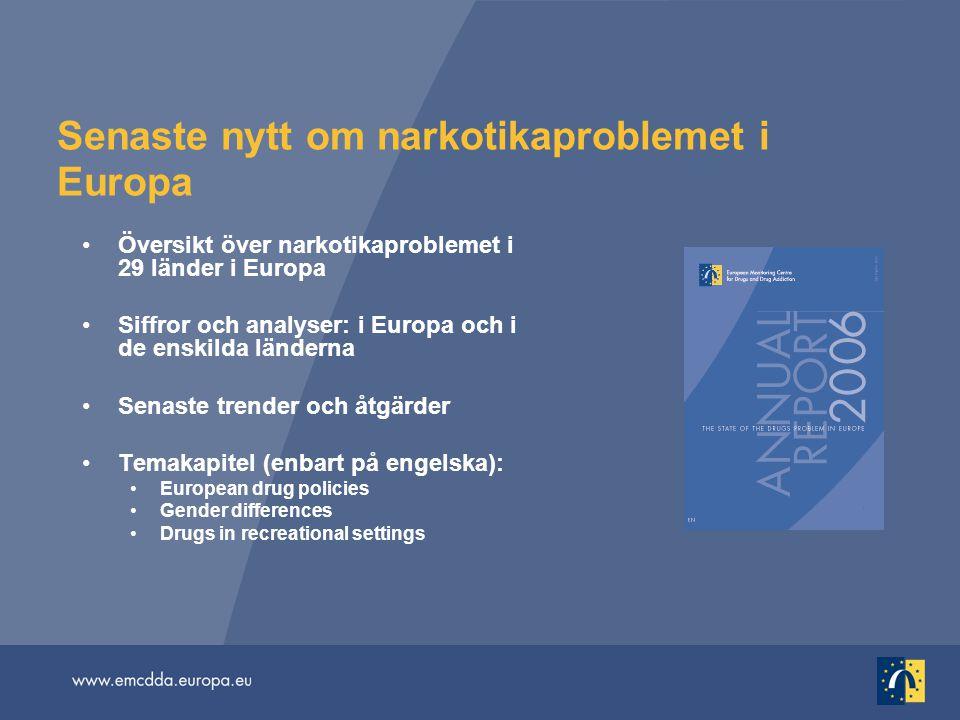 Senaste nytt om narkotikaproblemet i Europa