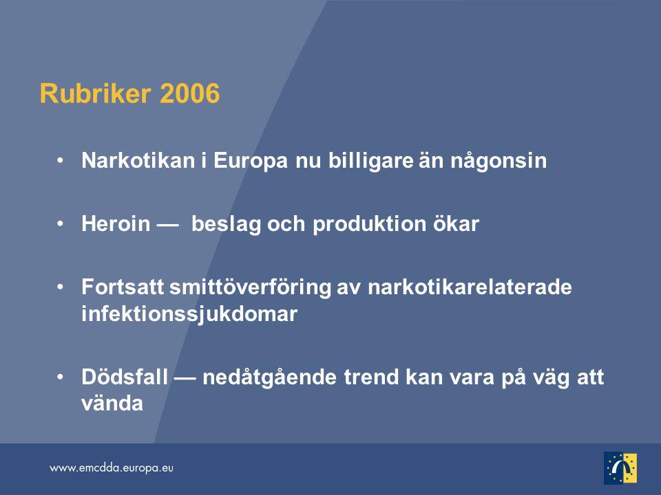 Rubriker 2006 Narkotikan i Europa nu billigare än någonsin