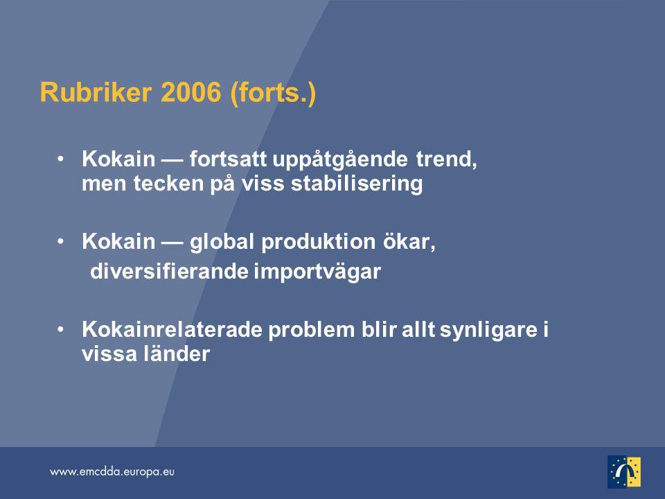 Rubriker 2006 (forts.) Kokain — fortsatt uppåtgående trend, men tecken på viss stabilisering.
