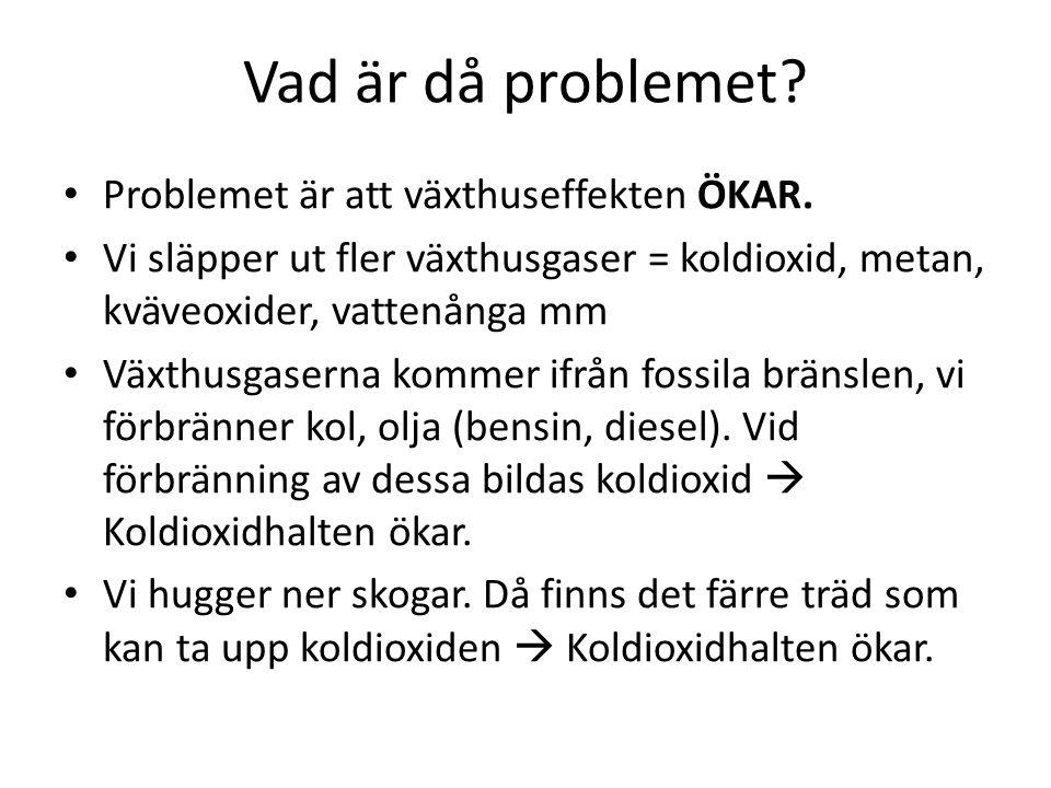 Vad är då problemet Problemet är att växthuseffekten ÖKAR.