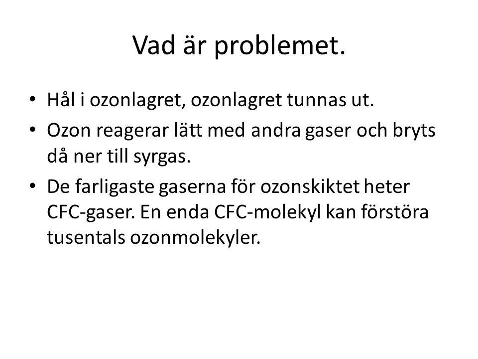 Vad är problemet. Hål i ozonlagret, ozonlagret tunnas ut.