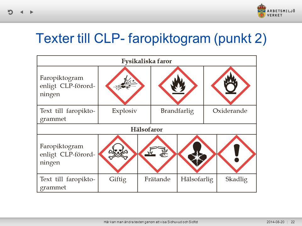 Texter till CLP- faropiktogram (punkt 2)