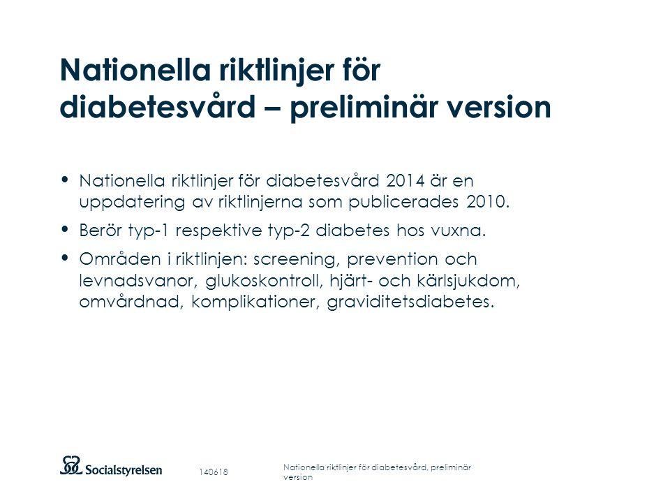 Nationella riktlinjer för diabetesvård – preliminär version
