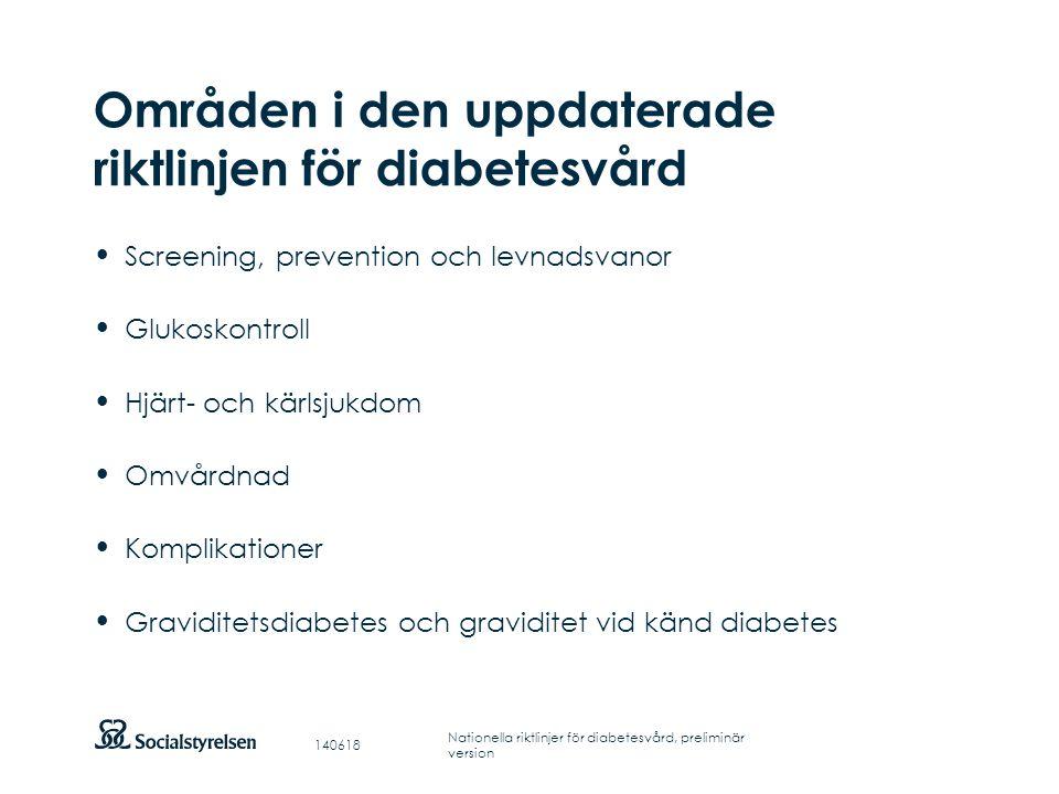 Områden i den uppdaterade riktlinjen för diabetesvård