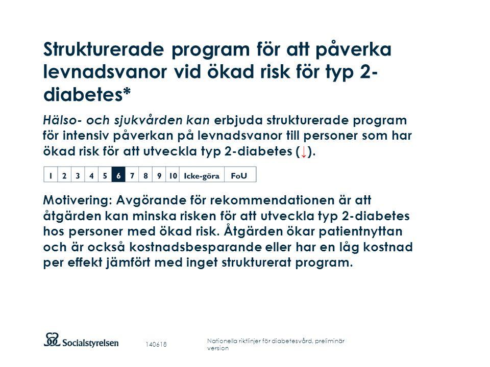 Strukturerade program för att påverka levnadsvanor vid ökad risk för typ 2-diabetes*