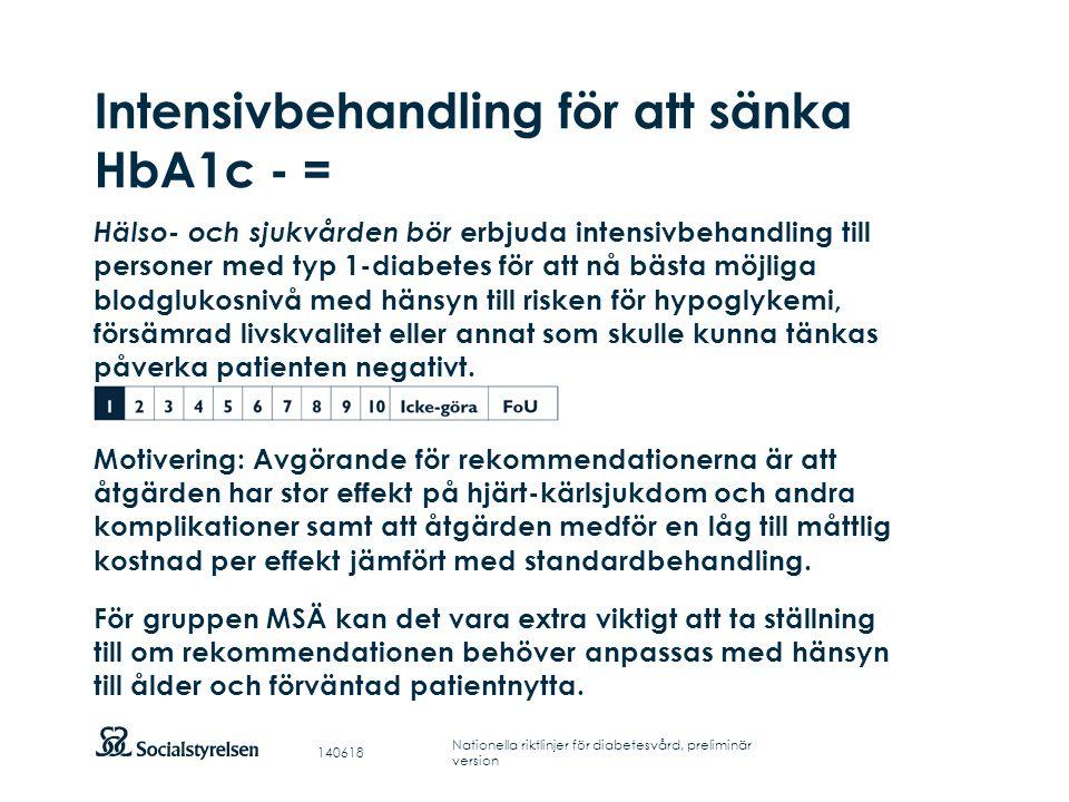 Intensivbehandling för att sänka HbA1c - =