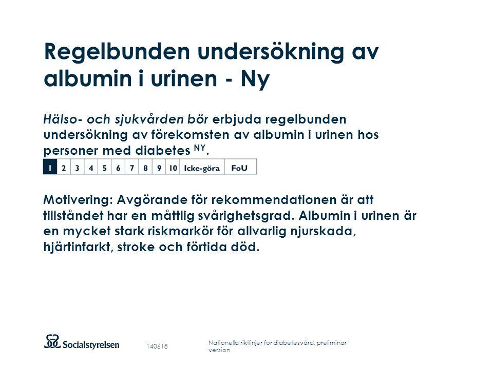 Regelbunden undersökning av albumin i urinen - Ny