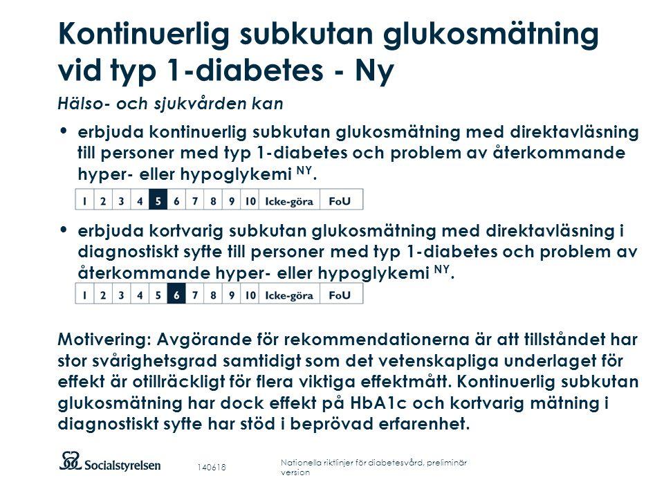 Kontinuerlig subkutan glukosmätning vid typ 1-diabetes - Ny