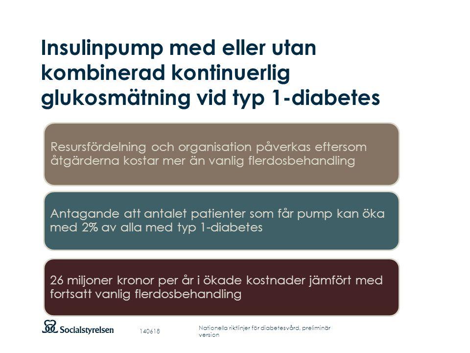 Insulinpump med eller utan kombinerad kontinuerlig glukosmätning vid typ 1-diabetes