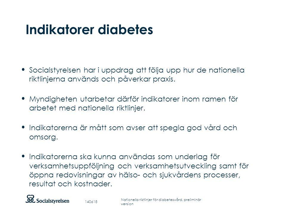 Indikatorer diabetes Socialstyrelsen har i uppdrag att följa upp hur de nationella riktlinjerna används och påverkar praxis.