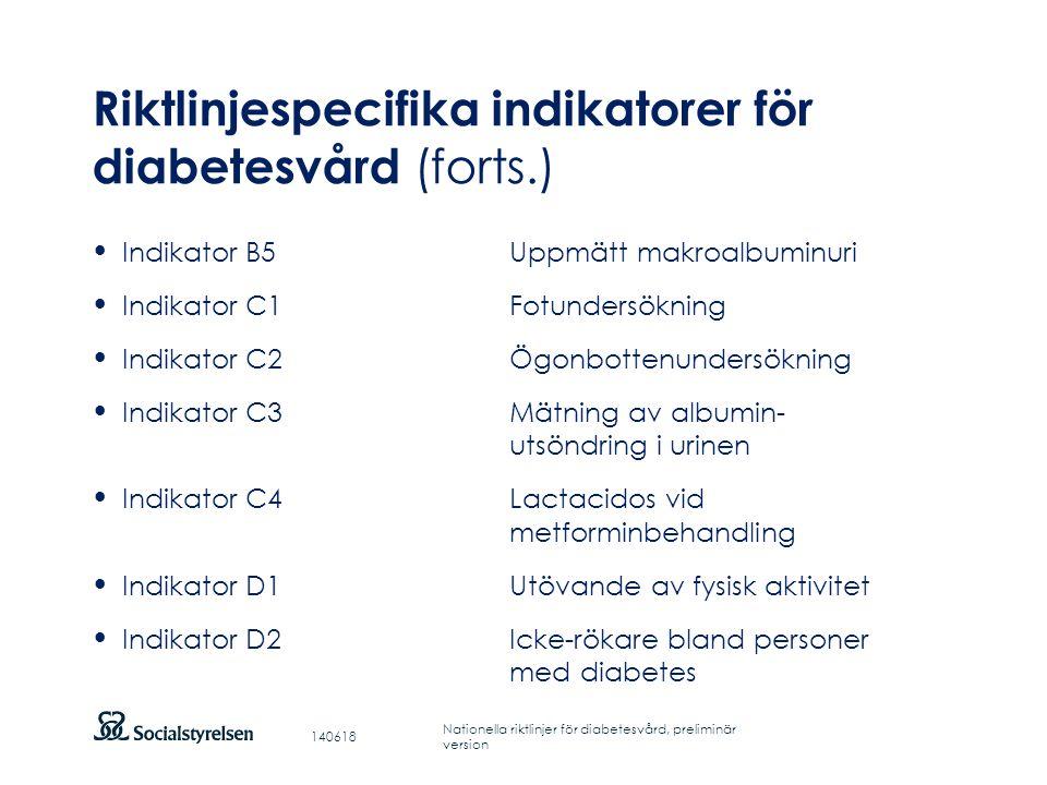 Riktlinjespecifika indikatorer för diabetesvård (forts.)