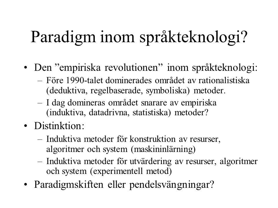 Paradigm inom språkteknologi