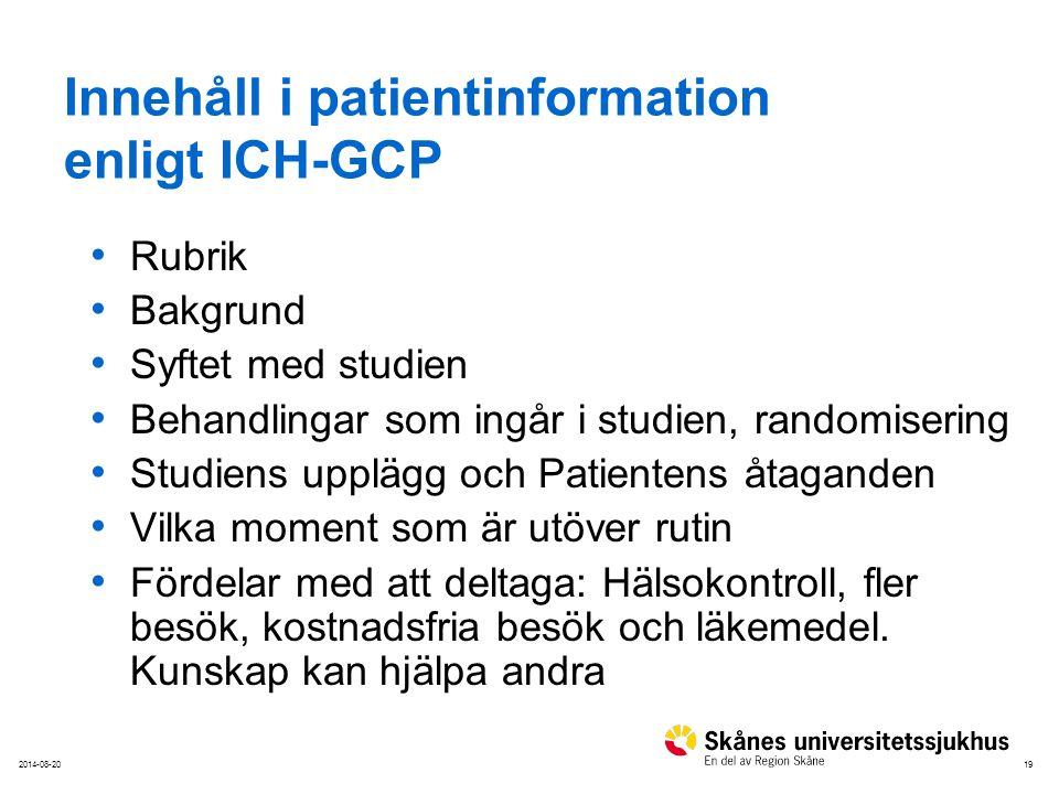 Innehåll i patientinformation enligt ICH-GCP