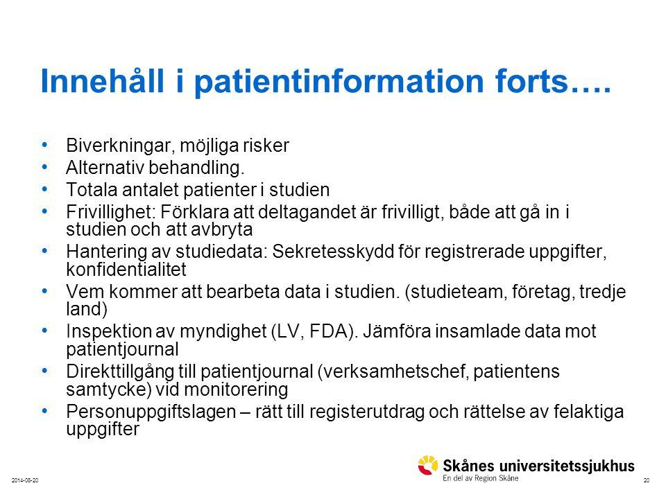 Innehåll i patientinformation forts….