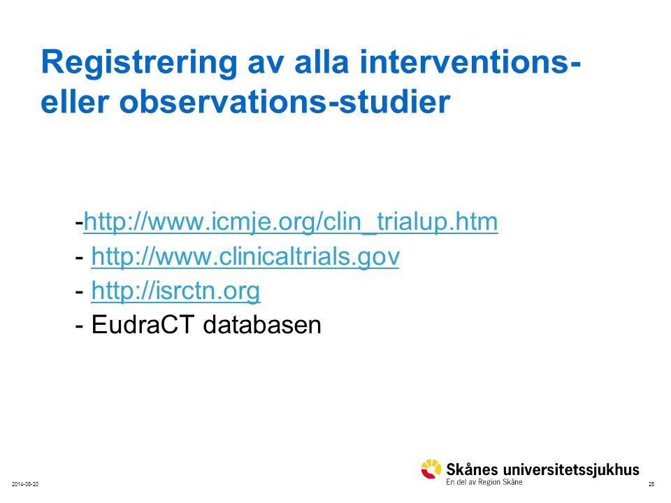 Registrering av alla interventions- eller observations-studier