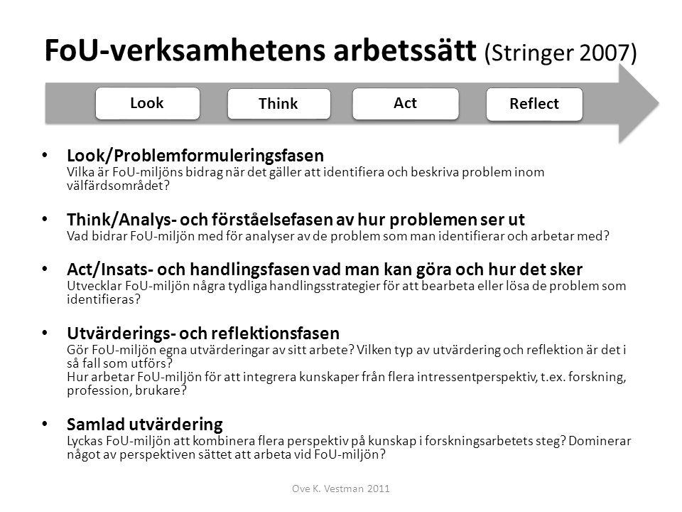 FoU-verksamhetens arbetssätt (Stringer 2007)