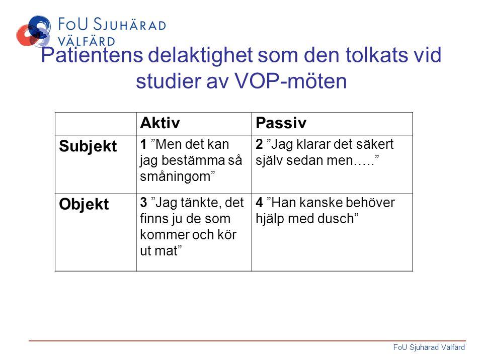 Patientens delaktighet som den tolkats vid studier av VOP-möten