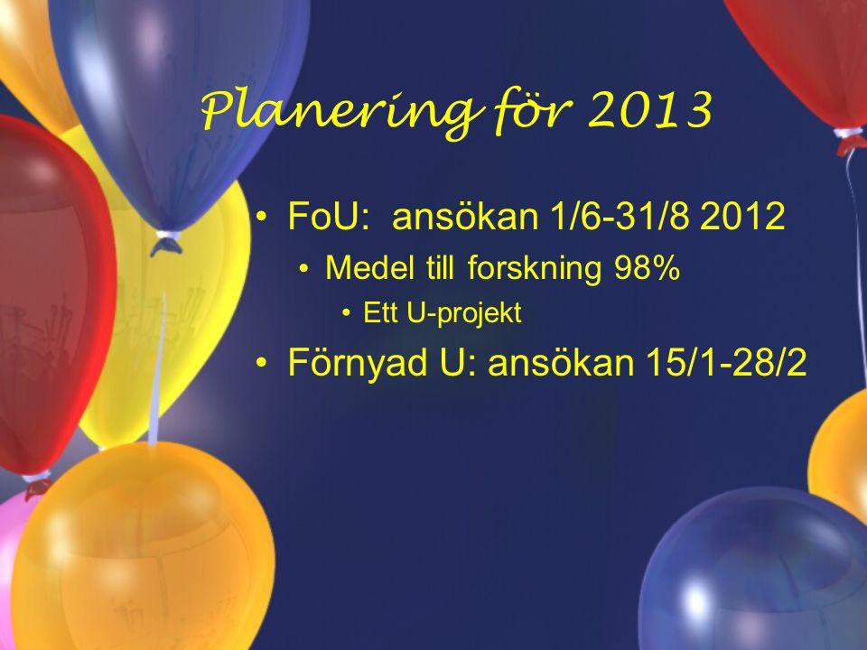 Planering för 2013 FoU: ansökan 1/6-31/8 2012