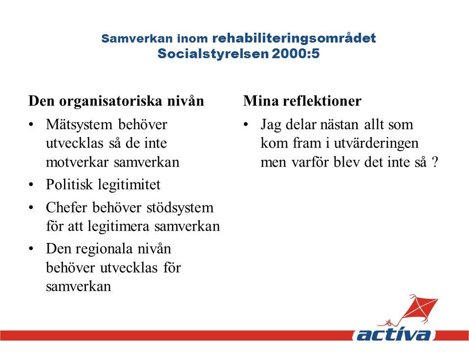 Samverkan inom rehabiliteringsområdet Socialstyrelsen 2000:5