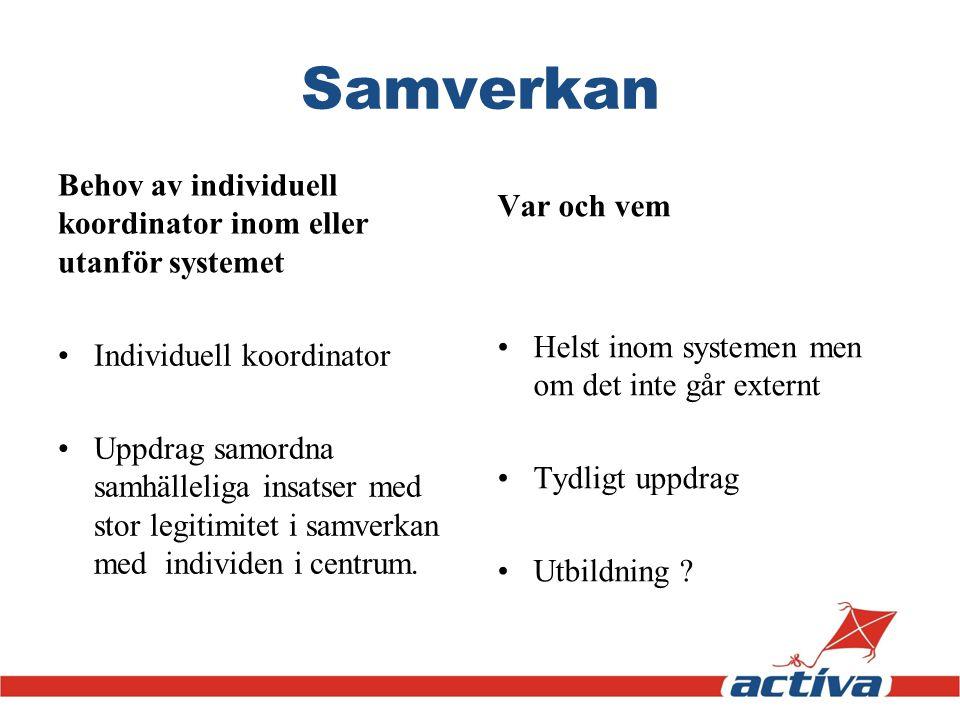 Samverkan Behov av individuell koordinator inom eller utanför systemet