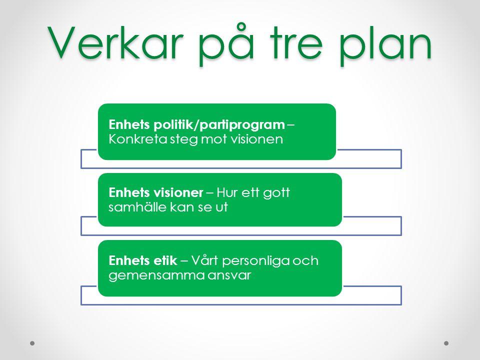 Verkar på tre plan Enhets politik/partiprogram – Konkreta steg mot visionen. Enhets visioner – Hur ett gott samhälle kan se ut.