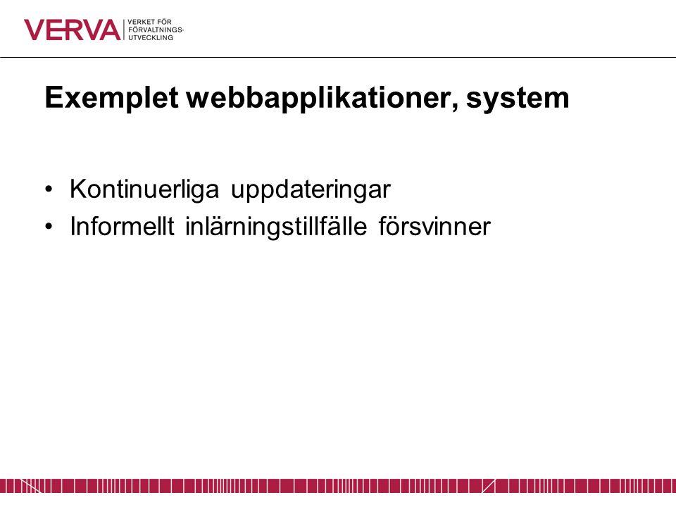 Exemplet webbapplikationer, system