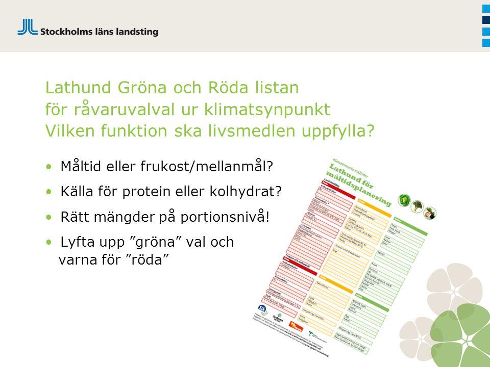 Lathund Gröna och Röda listan för råvaruvalval ur klimatsynpunkt Vilken funktion ska livsmedlen uppfylla