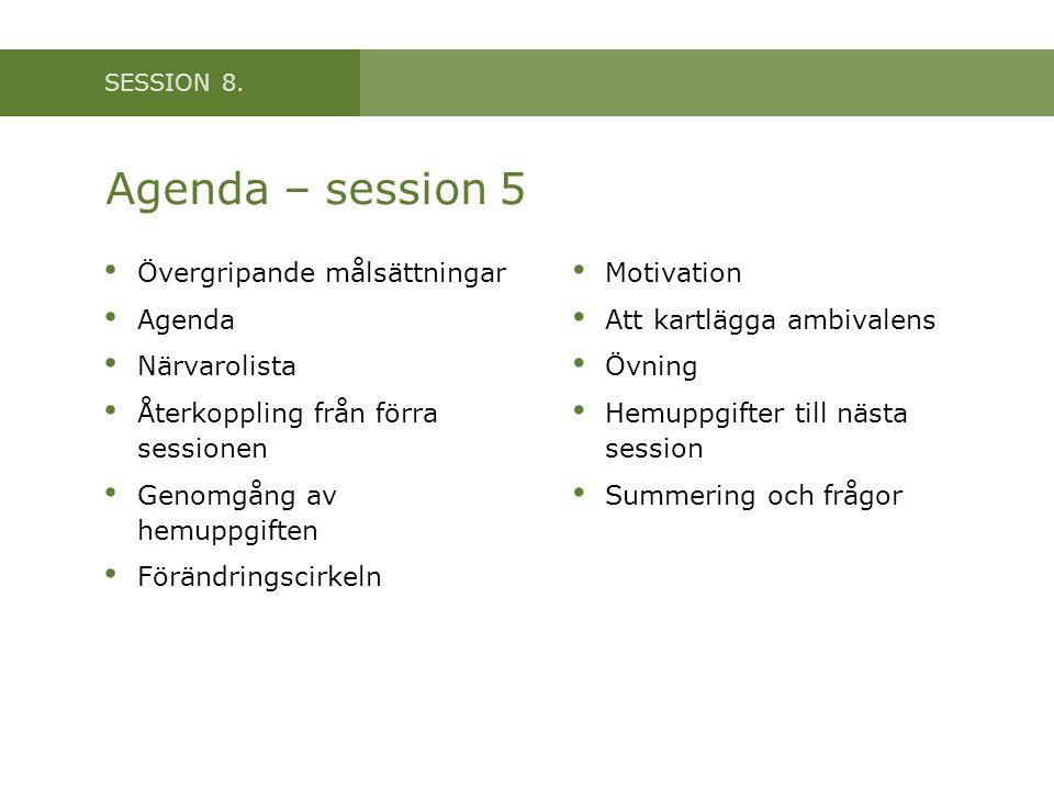 Agenda – session 5 Övergripande målsättningar Agenda Närvarolista