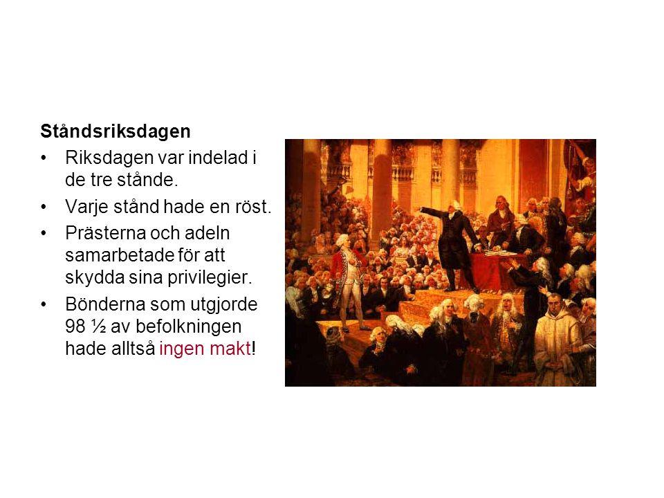 Ståndsriksdagen Riksdagen var indelad i de tre stånde. Varje stånd hade en röst. Prästerna och adeln samarbetade för att skydda sina privilegier.