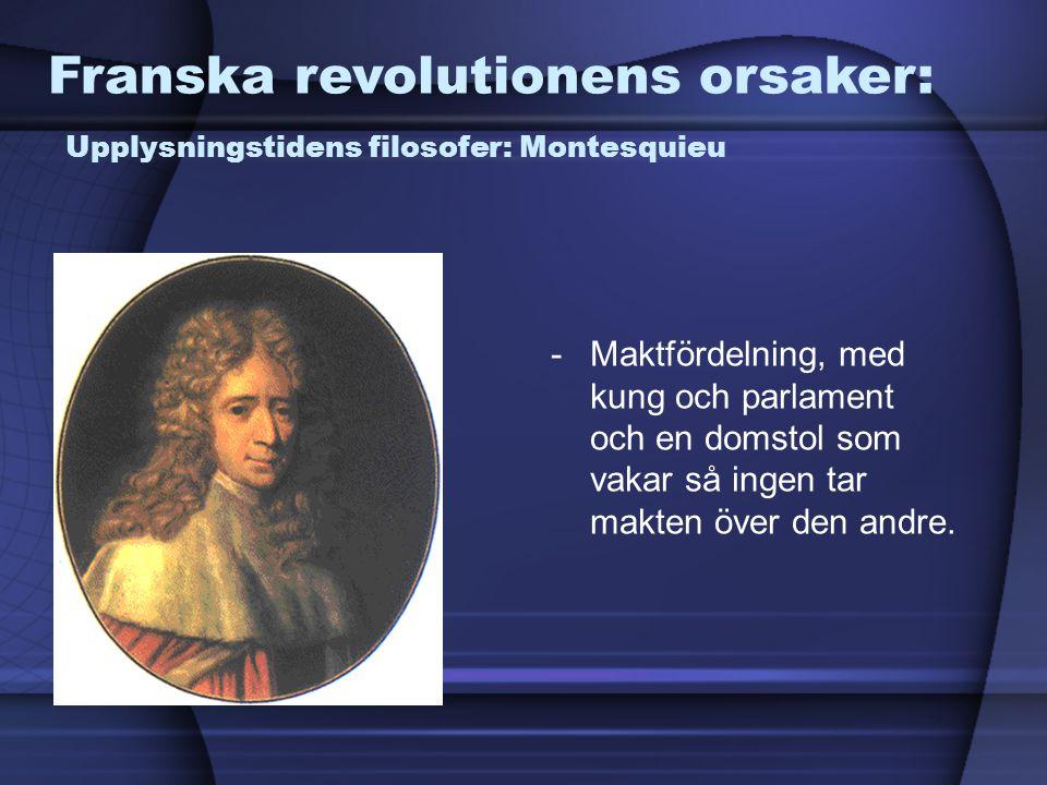 Franska revolutionens orsaker: Upplysningstidens filosofer: Montesquieu
