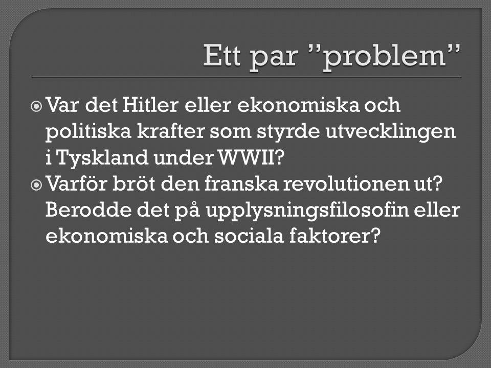 Ett par problem Var det Hitler eller ekonomiska och politiska krafter som styrde utvecklingen i Tyskland under WWII