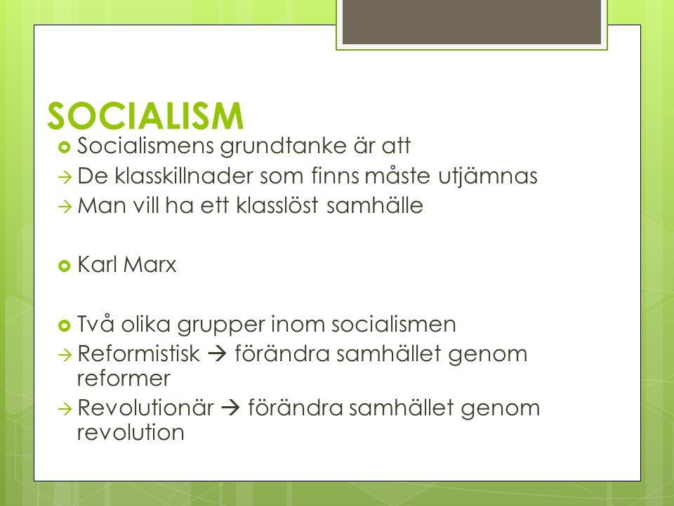 SOCIALISM Socialismens grundtanke är att