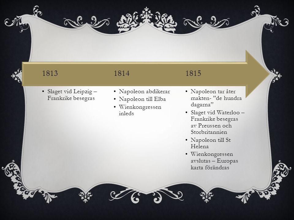 1815 1814 1813 Napoleon tar åter makten- de hundra dagarna