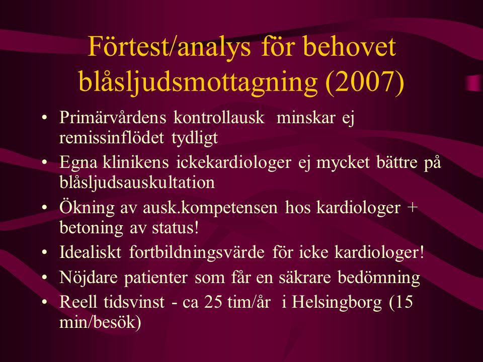 Förtest/analys för behovet blåsljudsmottagning (2007)