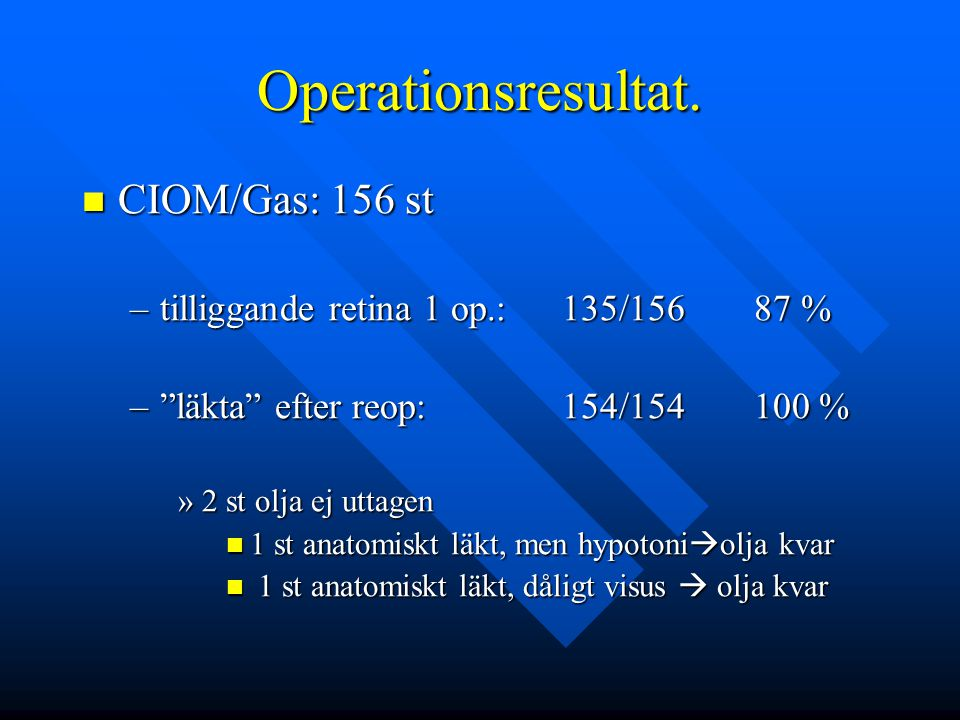 Operationsresultat. CIOM/Gas: 156 st