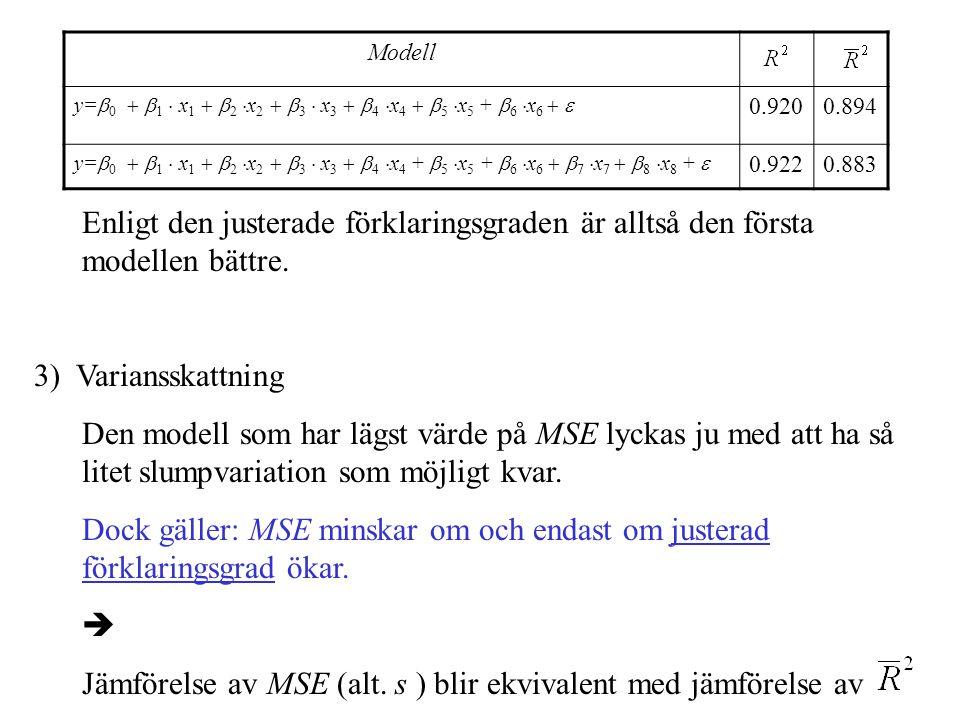 Jämförelse av MSE (alt. s ) blir ekvivalent med jämförelse av