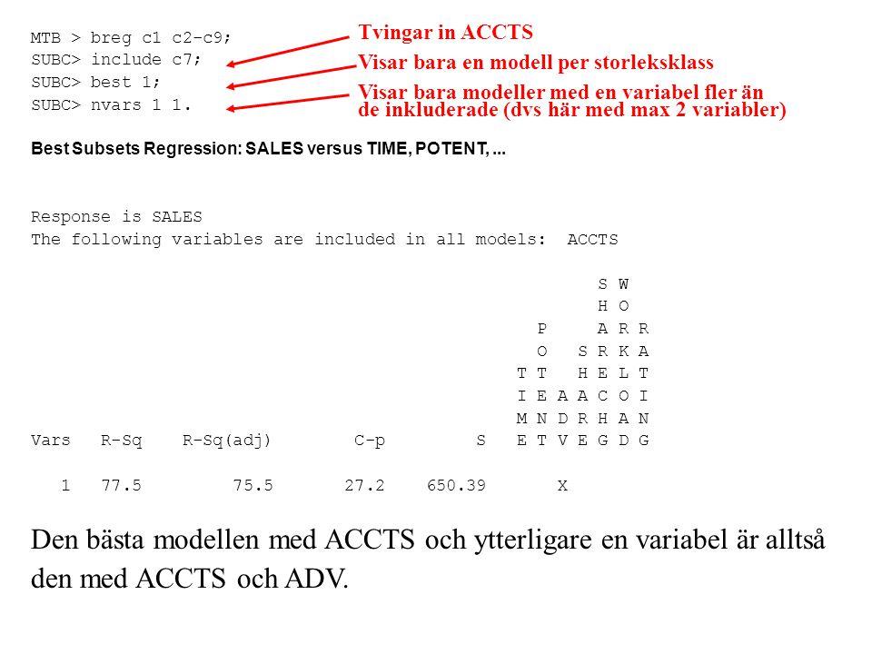 Den bästa modellen med ACCTS och ytterligare en variabel är alltså