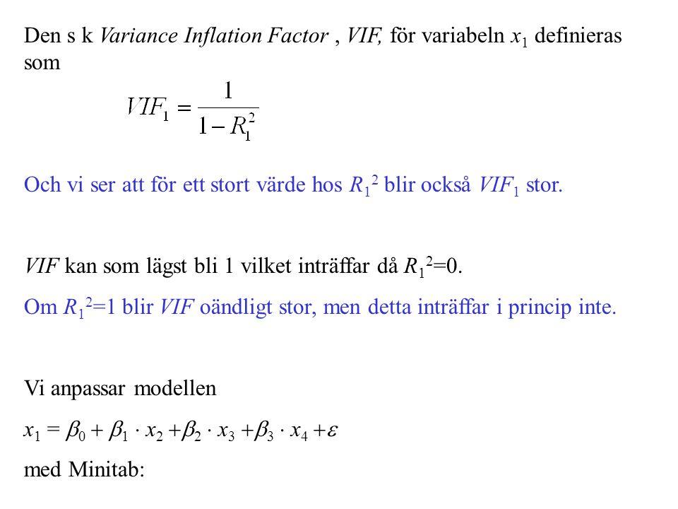 Den s k Variance Inflation Factor , VIF, för variabeln x1 definieras som