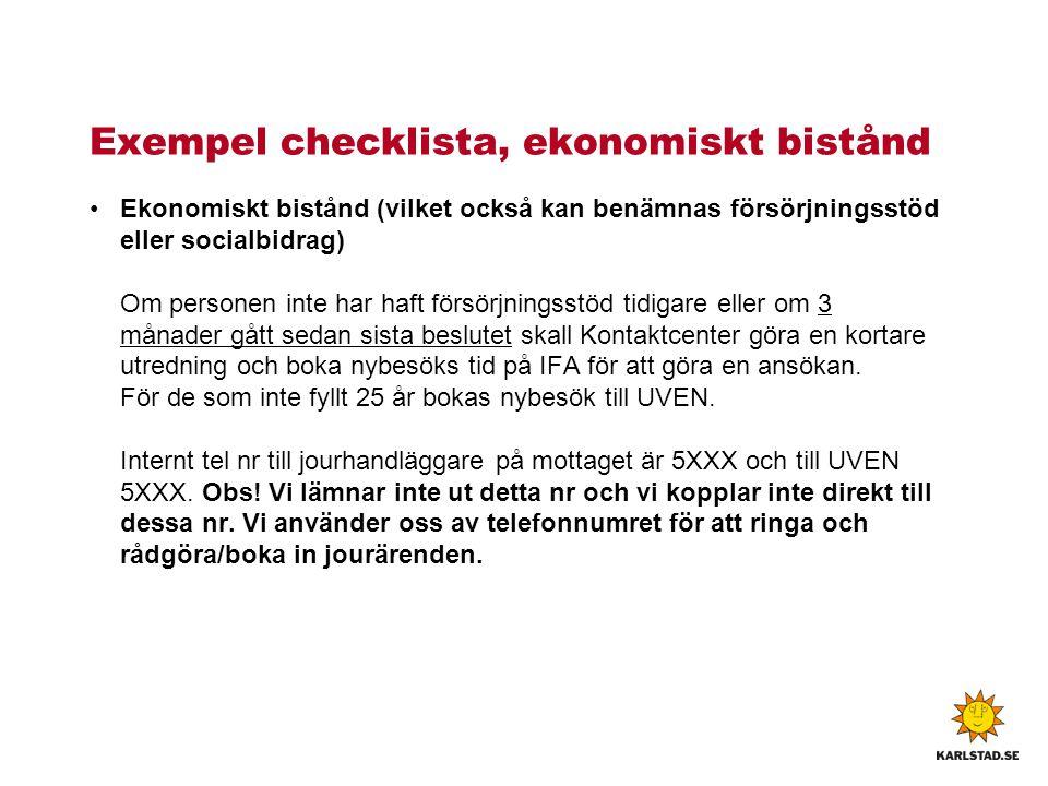 Exempel checklista, ekonomiskt bistånd