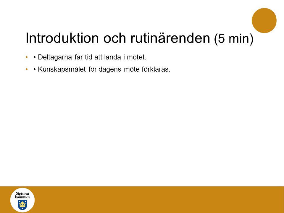 Introduktion och rutinärenden (5 min)