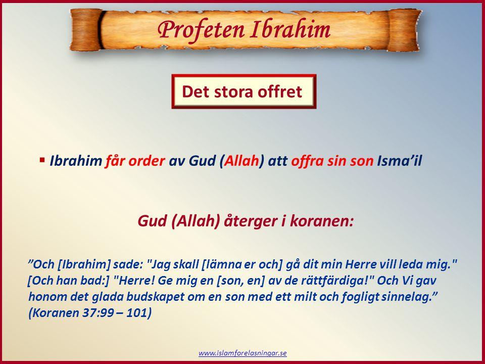 Profeten Ibrahim Det stora offret Gud (Allah) återger i koranen: