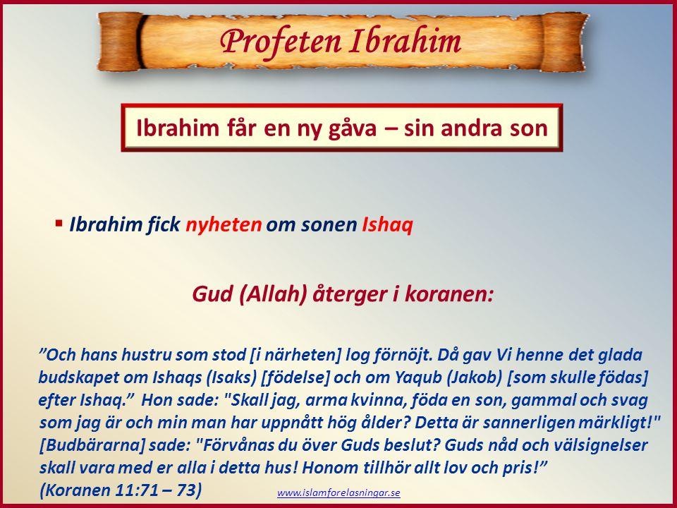 Profeten Ibrahim Ibrahim får en ny gåva – sin andra son